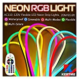 KERTME Neon Led Type AC 110-120V LED NEON LIGHT STRIP, Flexible/Waterproof/Dimmable/Multi-Colors/Multi-Modes LED Rope Light + 24 keys Remote for Home/Garden/Building Decoration (65.6ft/20m, RGB)