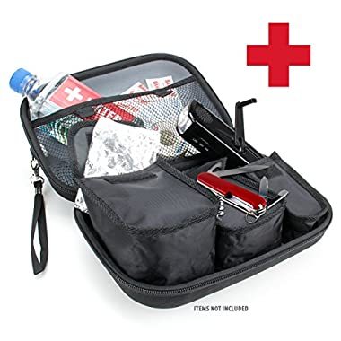 Emergency Survival Gear Kit Case with Room For Flashlights , Water , Solar Blankets , Band-Aids , Pocket Knives and More by USA Gear - Perfect for Emergencies , Earthquakes , Car Kits and First Aid KitsIncludes Micro-USB and Cleaning Brush