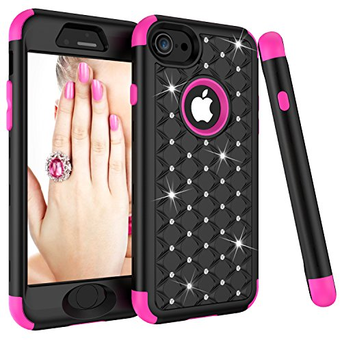 Chrome 10' Cover Plate - iPhone 8 Case, iPhone 7 Case, Dooge Diamond Studded Bling Rhinestone Shockproof Hybrid Armor Defender Full-body Rugged High Impact Protective Cover for Apple iPhone 7/8 - Black/Rose