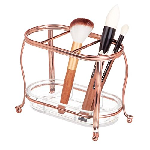 mDesign Decorative Makeup Brush Storage Organizer Tray Stand for Bathroom Vanity Counter Tops, Dressing Tables, Cosmetic Stations - 3 Sections with Removable Bottom Tray - Rose Gold/Clear by mDesign