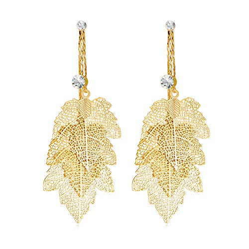 Long Tassel Filigree Leaf Earrings - Unique Hypoallergenic Bohemian 14K Gold Plated Multi Layer Leaves with Crystal metal Drop Dangle Earrings for Women, Girls, Fashion Charm Jewelry Gift