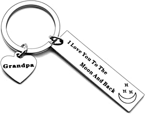 Grandpa Gifts Keychainfrom Granddaughter Grandson Grandkid - I Love You to The Moon and Back Dogtags Military Birthday Christmas Gifts for Grandpa Granfather Fathers Day