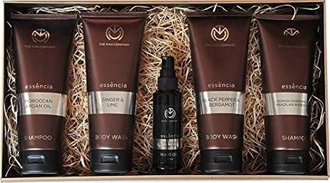 The Man Company Hunk Men's Grooming Kit Set of 5-Ginger & Lime Body Wash,Black Pepper & Bergamot Body Wash, Moroccan Argan Oil Shampoo, Roman Chamomile Brazilian Shampoo, Argan Almond Hair Oil 50ml