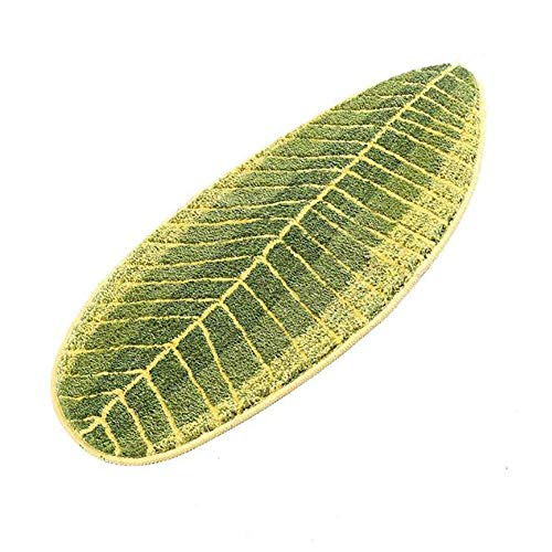 (MustMat Non Slip Kitchen Rugs and Mats Cute Leaf Shape Area Rugs Nice for Kitchen Floor/Bathroom/Bedroom 17.7