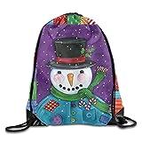 Colorful Snowman Funny Pattern Drawstring Bags Portable Backpack Pocket Bag Travel Sport Gym Bag Yoga Runner Daypack