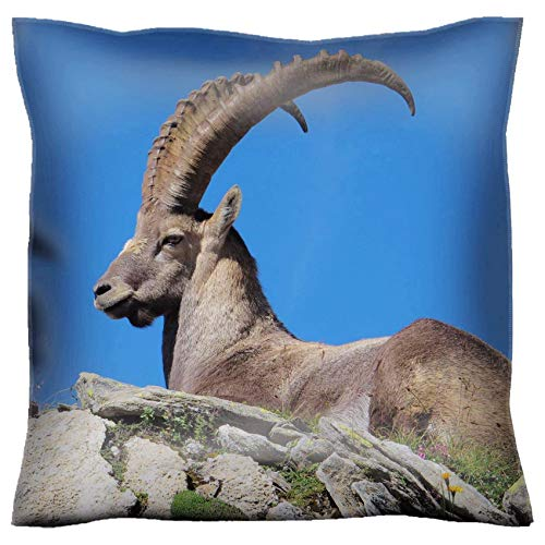 MSD Handmade 18x18 Throw Pillow case Polyester Pillowcase Decorative Pillow Covers Sofa Bed Couch Majestic Alpine Ibex Image 36312883 Customized Tablemats Stain Resistance Collector Kit -