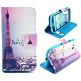 Welity Retro Eiffel Tower PU Leather Wallet Type Magnet Design Flip Case Cover Credit Card Holder Pouch Case for...