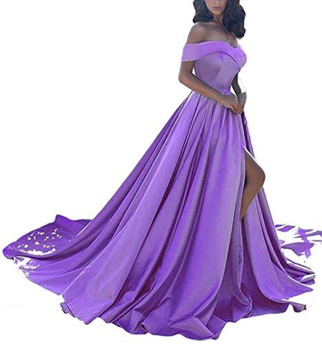 (Homdor Split Off Shoulder Prom Evening Dress for Women A-Line Satin Formal Gown Violet Size 26)