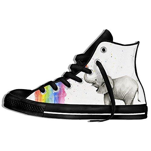Classiche Sneakers Alte Scarpe Di Tela Anti-skid Elefanti Spray Arcobaleno Casual Walking Per Uomo Donna Nero