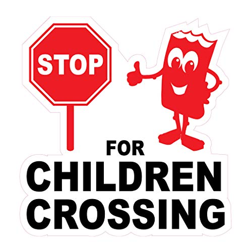Die-Cut Sticker Multiple Sizes for Children Crossing Lifestyle Stop Sign Indoor Decal Concession Sign Red - 10in Longest Side