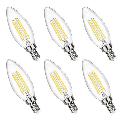 Filament Candle LED Bulbs, 40W Equivalent, 4W 4000K Daylight (Neutral White) Chandelier, 470LM, E12 Base Lamp, C32 Torpedo Shape Bullet Top Candelabra Light Bulb, ETL Listed, 6 pack