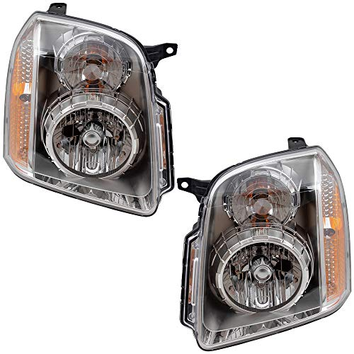 Driver and Passenger Headlights Headlamps Replacement for GMC Yukon Denali & XL Denali 20969896 20969897