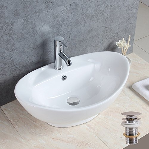 Basong Oval Above Counter White Porcelain Ceramic Bathroom Vessel Sink Art Basin with Pop-Up Drain(23x15x8.3 In.) - Art Counter