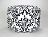 "24"" Floor Ottoman Pouf Pillow, Black White Damask"