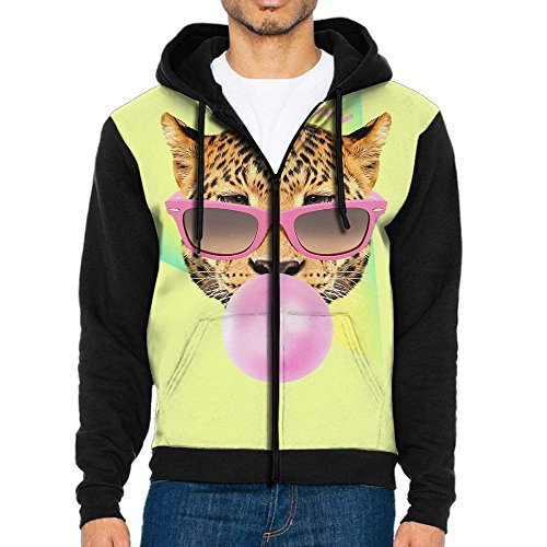 Men's Full-zip Zipper Printed Hoodie Sweatshirt Funny Cat With Sunglasses Drawstring Pockets - Customize Own Your Sunglasses Cheap