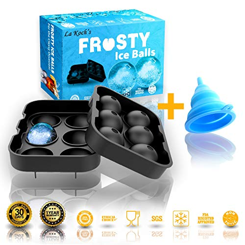 Sized Cube - Silicone Ice Ball Mold. Large 6 sized Ice Ball Tray with 2 inch Sphere. FDA Approved Ice Tray with Certified Silicone. Silicone Ice Sphere Maker.  Frosty Ice Balls from La Koch's