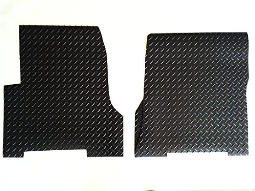 WeatherFit Floor Mats VOLVOVNL7802B - 2 Pc Front Black Diamond Plate Rubber Aftermarket Floor Mats for Volvo VNL (Diamond Tough Floor)