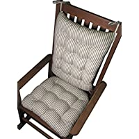 Rocking Chair Cushions - Ticking Stripe Black - Seat Cushion and Back Rest - Reversible, Latex Foam Fill - Made in USA (Black, Standard)