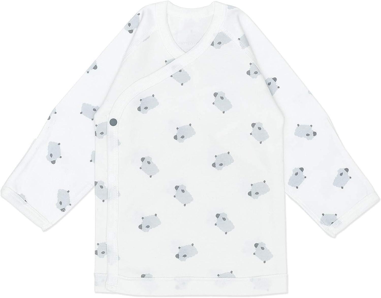 Vandis Organic Baba Long-Sleeve Side-Snap Shirt with Mittens, 100% Organic Cotton White