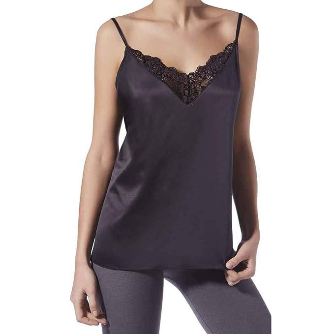 JANIRA Camiseta de Raso con Encaje Charm Greta B 118 - Negro 3dcfee574981