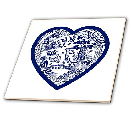 3dRose Russ Billington Designs - Single Willow Pattern Heart in Blue and White - 6 Inch Ceramic Tile (ct_294406_2)