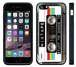 Apple iPhone 6 Black Rubber Silicone Case - Mixed Tape Cassette Retro Old School Music you can dance too