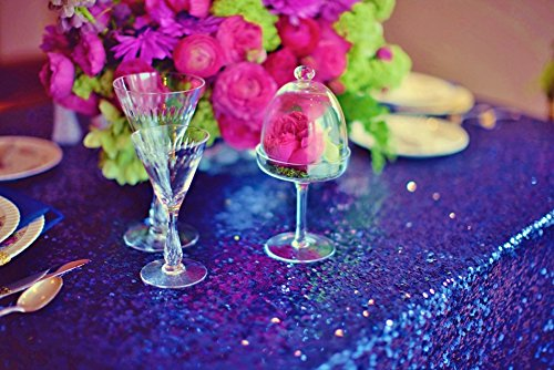 LQIAO Royal Blue Sequin Table Runner-13x108inch Sparkly Shimmer Sequin Fabric, Sequin Table Runner, Sequin Tablecloth, Table Linens Wedding Dining Party Shiny Decoration(18PCS)