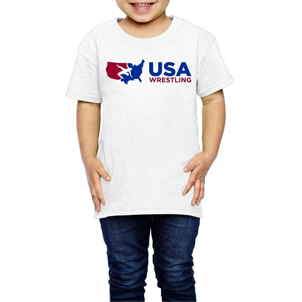 XYMYFC-E USA Wrestling 2-6 Years Old Kids Short Sleeve Tshirt