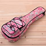 HOT SEAL 10MM Waterproof Durable Colorful Ukulele Case Bag with Storage (21in, Pink flowers)