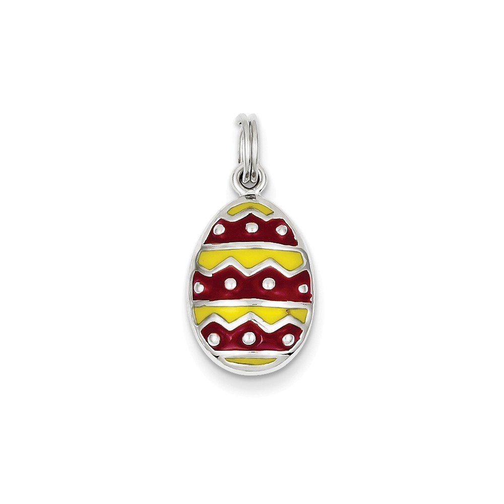 Sterling Silver Enameled Easter Egg Charm 0.9IN long x 0.5IN wide