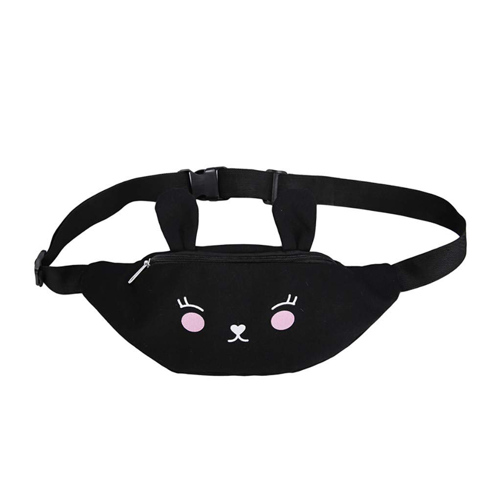 Bohelly Cool Black Fanny Pack Bum Bag for Women Big Girls Multi-Pockets PU Leather Waist Pack with Adjustable Belt
