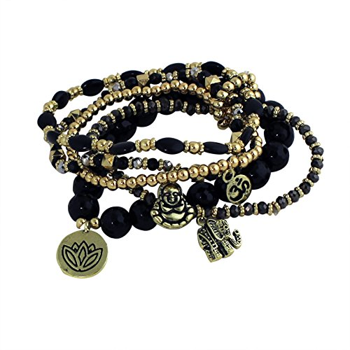 [Namaste Beaded Bracelet with Charms, Black] (Indian Costume Ideas For Women)