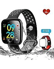Sky Castle Fitness Armband mit herzfrequenz, Wasserdicht IP67 Fitness Tracker Pulsuhren, Aktivitätstracker Herzfrequenz Wasserdicht Schwimmen Pedometer Kompatibel mit iOS Android APP auf - Schwarz