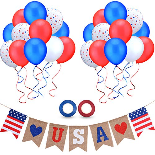 Day Latex Balloon - July 4th Banner Balloons Set, USA Letter Burlap Banner and Independence Day Latex Balloons White Red Blue Balloons Star Patterned Balloons with 2 Ribbons for Patriotic Party Decoration Supplies