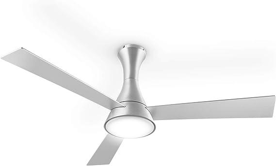 KLARSTEIN Steeletto - Ventilador de Techo 2 en 1, Lámpara-Ventilador, Rotor 134cm, 55W, 3 aspas motorizadas, Lámpara de Vidrio opalino, 3 velocidades, Control Remoto, Gris Metalizado: Amazon.es: Hogar