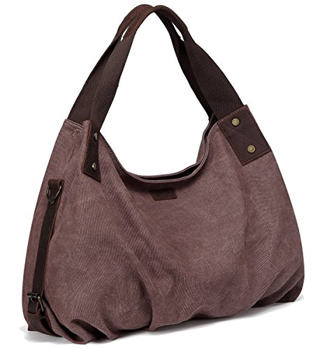Canvas Hobo Bag,VASCHY Vintage Large Leather Canvas Tote Handbag for Women Top Handle Work Bag Brown with Detachable Shoulder - Handbag Womens Antique