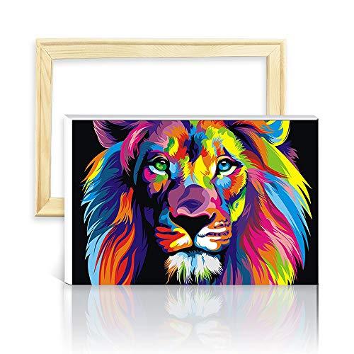 decalmile Pintura por Numero de Kits DIY Pintura al oleo para Adultos Ninos Leon Colorido 16X 20 (40 x 50 cm, Marco de Madera)