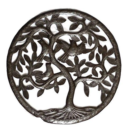 Tree of Life, Haiti Metal Wall, Birds, Steel Drum Garden Art, 17