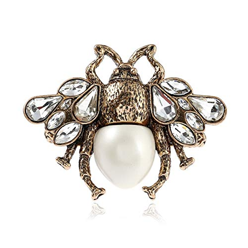 AILUOR Fashion Enamel Bumblebee Bee Rings, Vintage Alloy Pearl Crystal Rhinestone Natural Insect Bee Animal Rings Jewelry Women Girl (White) -