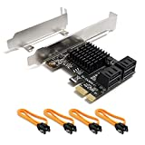 QNINE PCIe SATA Card 4 Port with 4 SATA Cables, PCI Express to SATA Controller Expansion Card with Low Profile Bracket, 6 Gb/s SATA 3.0 PCI-e Card Non-Raid, Boot as System Disk, Support HDD or SSD