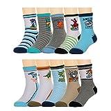 Deer Mum Boy's Cartoon Dinosaur Cotton Crew Socks 10 Pairs