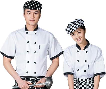 WYCDA Camisa de Cocinero Cocina Uniforme Manga Corta ...
