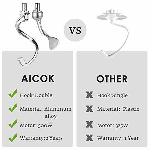 Stand Mixer, Aicok Dough Mixer with 5 Qt Stainless Steel Bowl, 500W 6 Speeds Tilt-Head Food Mixer, Kitchen Electric Mixer with Double Dough Hooks, Whisk, Beater, Pouring Shield, Black by AICOK (Image #4)