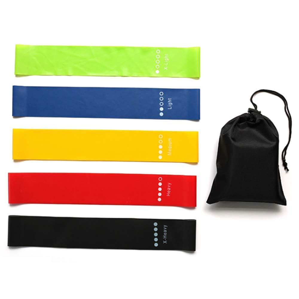 ANSLYQA Resistance-Loop-Bands Leg-Exercise-Bands for Workout Body Stretch ,Leg,Butt,Yoga,Home Fitness,Physical Therapy, (Set of 5)