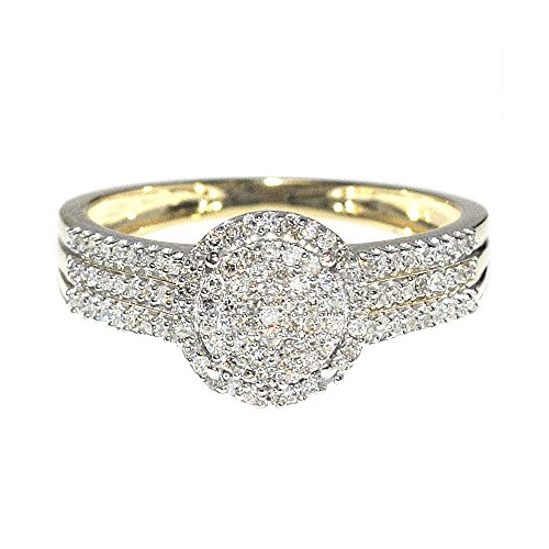 (Midwest Jewellery 1/3cttw Diamond Bridal Promise Engagement Ring 10K Yellow Gold 9mm Wide (0.33cttw))