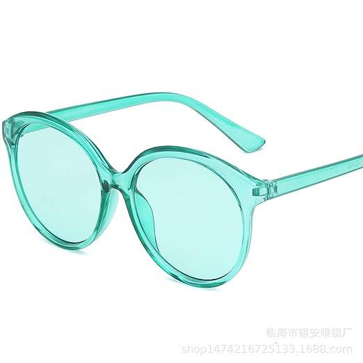 Yangjing-hl Gafas de Sol con Montura Redonda Ocean Mirror ...