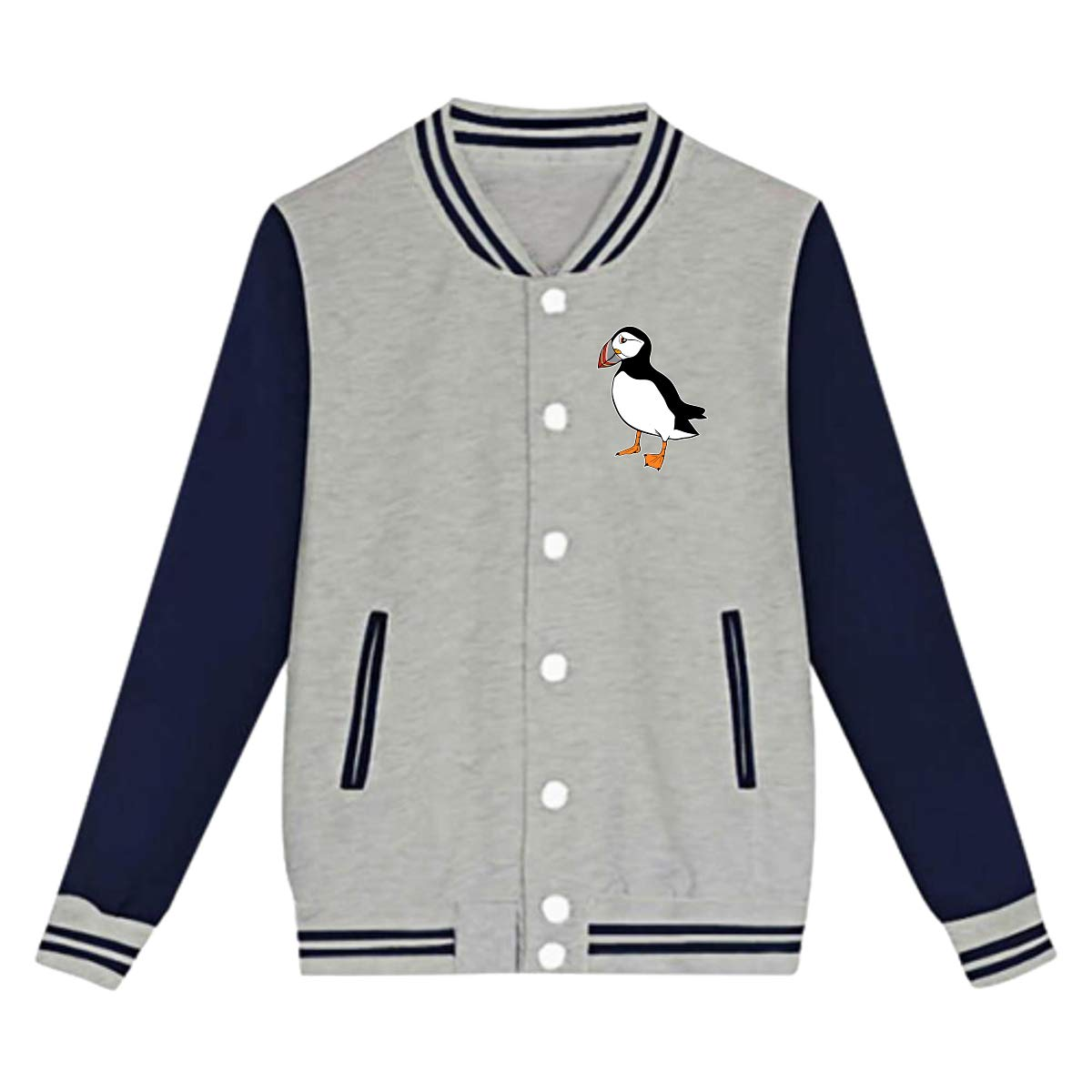 Tina TN Cute Puffin Bird Teens Boys Girl Varsity Baseball Jacket Long Sleeve Sport Baseball Uniform Jacket Coat Sweater Black