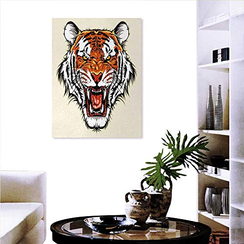 Tiger Print On Canvas Wall Decor Angry Ready to Attack Beast Sharp Fangs Jungle Animal Detailed Face Hunter Wall Paintings 20