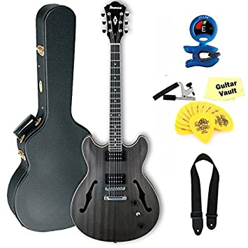 Ibanez AS53 Semi-Hollow guitarra eléctrica, transparente negro ...
