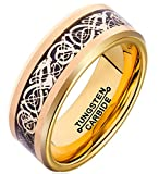 FCL Men 8mm Black Carbon Fiber Silver Celtic Dragon Inlay Gold Plated Beveled Edge Tungsten Carbide Ring